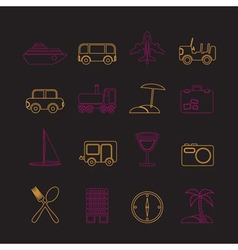 transportation and holiday icons vector image