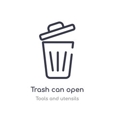 Trash can open outline icon isolated line from vector