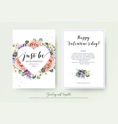 valentines day floral greeting card art design vector image