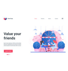 value your friends landing page two girl friends vector image