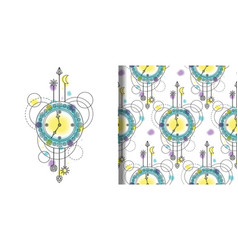 Watercolor clock print and seamless pattern vector