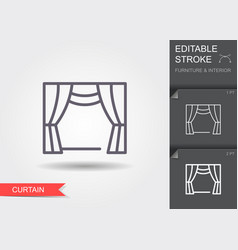 window curtains line icon with editable stroke vector image