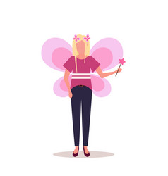woman wearing magic fairy costume happy halloween vector image