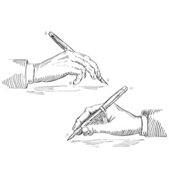 Writing hand of businessman vector