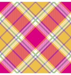 Yellow pink indian madras diagonal fabric texture vector