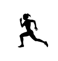 Young female athlete runner run sprint race black vector