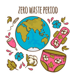 zero waste hygiene feminine hand drawn vector image