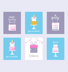 cakes and unicorns birthday cards shower vector image vector image