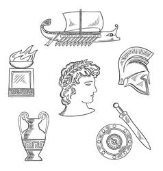 Culture symbols of ancient Greece vector image