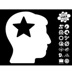 Star Head Icon with Tools Bonus vector image
