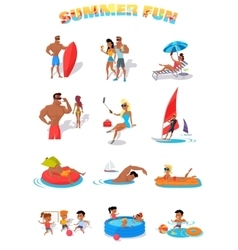 Summer Holidays Color Icons with People vector image vector image