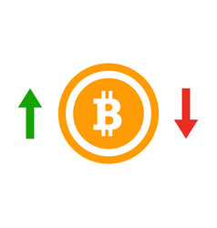 up and down arrows bitcoin course flat icon vector image