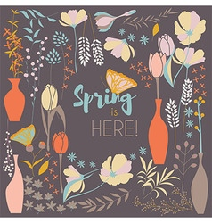 Floral spring card design with hand drawn flowers vector image vector image