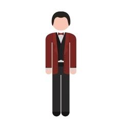 Full body man formal suit bowtie vector