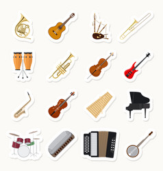 musical instruments stickers set vector image