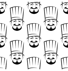 Smiling chefs seamless background pattern vector image