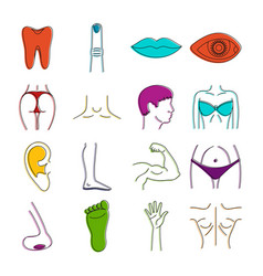 body parts icons doodle set vector image
