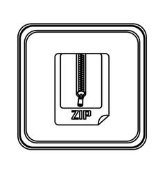 figure emblem laptop zip document icon vector image