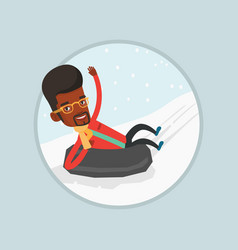 man sledding on snow rubber tube in the mountains vector image