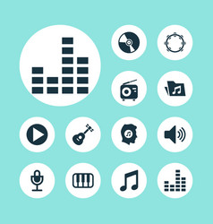 Multimedia icons set collection of meloman vector