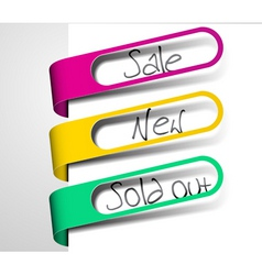 paper tags for items in sale sold out and new vector image vector image
