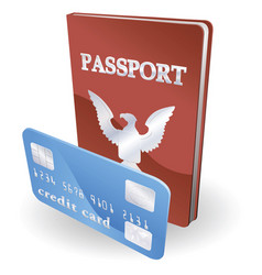 passport and credit card vector image vector image