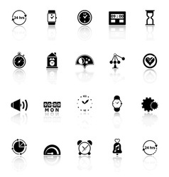 Time related icons with reflect on white vector image vector image