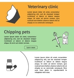 Veterinary banners set with vet clinic pet care vector image vector image