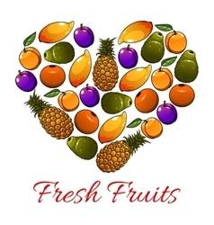 Fruits heart shape fresh fruits icons vector image