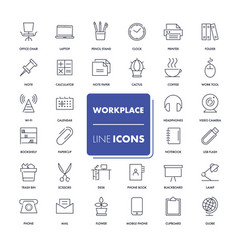 line icons set workplace vector image