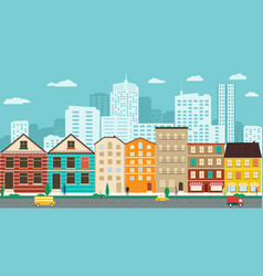 town streets with views of the skyscrapers vector image vector image