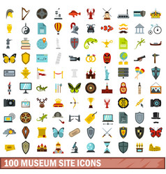 100 museum site icons set flat style vector