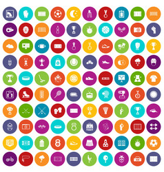 100 stadium icons set color vector