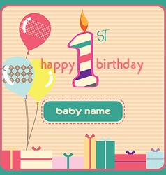 1st birthday Greeting Card Candle vector