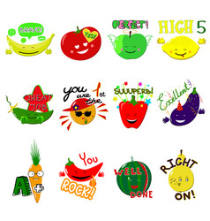Achievement school labels fruits and vector