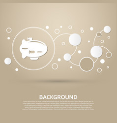 airship icon on a brown background with elegant vector image