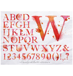 Alphabet watercolor red vector