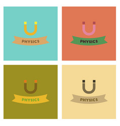Assembly flat icons physics lesson vector