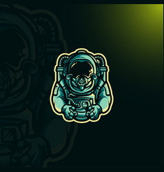 astronaut gaming logo vector image