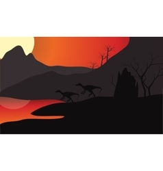 At sunset eoraptor silhouette in lake vector image