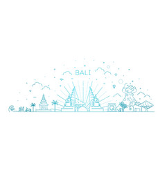 bali travel banner with famous landmarks vector image