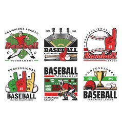 Baseball balls sport game bats trophy players vector