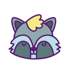 bashower cute raccoon head close eyes animal vector image