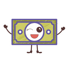 Bill dollar kawaii character vector