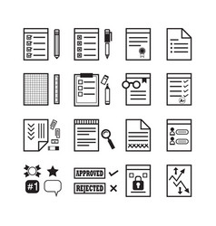 Black line office paper documents stationery set vector