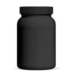 black medicine bottle supplement packaging jar vector image