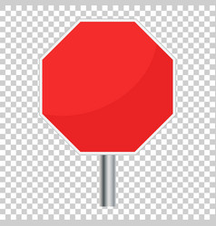 blank red stop sign icon empty danger symbol vector image