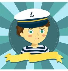 Boy Captain Hat in Circle Banner Cartoon vector image