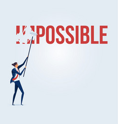 businessman turning the word impossible vector image