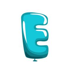 Capital letter e in shape blue air balloon vector